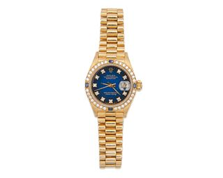 """ROLEX 18K Gold, Diamond, and Sapphire """"Oyster Perpetual Datejust"""" Wristwatch"""