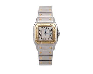 "CARTIER Stainless Steel and 18K Gold ""Santos Galbée"" Wristwatch"