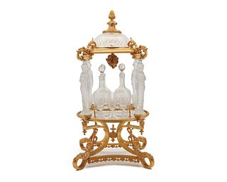 French Ormolu and Crystal Figural Cordial Stand, ca. 1900