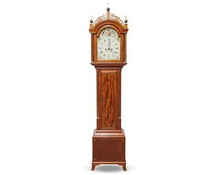 STEPHEN TABER Mahogany Inlaid Tall Case Clock, Massachusetts, ca. 1810