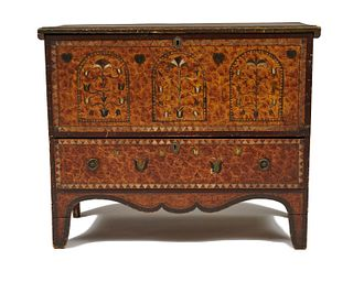 American Painted Pine Lift Top Single Drawer Blanket Chest, ca. 1800