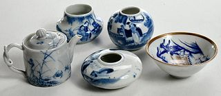 Five Asian Blue and White Miniature Vessels