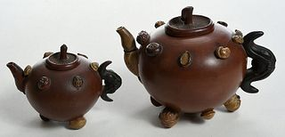 Two Chinese Yixing Nut and Seed Teapots