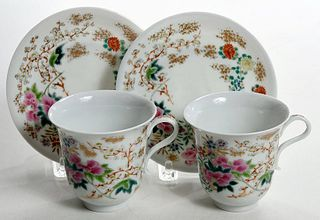 Pair Japanese Export Enameled Cups and Saucers