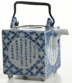 A Chinese Blue and White Square Ewer with Lid