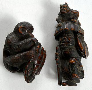 Two Japanese Carved Wood Netsuke Figures