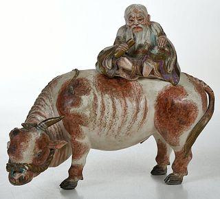 Chinese Ceramic Figure, Laozi on Water Buffalo