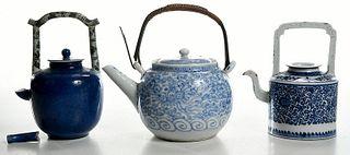 Three Asian Porcelain Tea Pots
