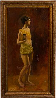 JOHN HABERLE, WOMAN WITH JUG, SIGNED OIL