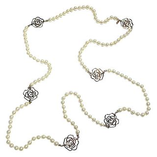 Chanel Faux Pearl & Camellia Necklace, 2012