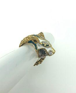 18K Yellow Gold & White Gold Diamond Enamel Ring
