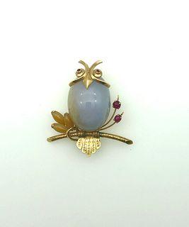 14K Yellow Gold & Natural Jade Owl Brooch, Vintage