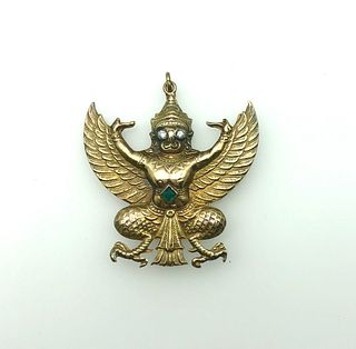 14K Yellow Gold, Diamond, Sapphire Garuda Amulet