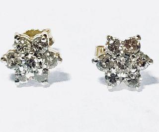 14K Gold & Diamond Cluster Earrings, 0.5 cttw