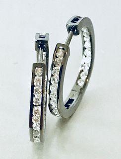 14K Gold & Diamond Earrings, 1.25 cttw, Pair