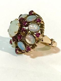 Vintage 18K Natural Opal and Ruby Ring