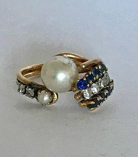 Mid-Century 14K Gold Pearl, Diamond, Sapphire Ring