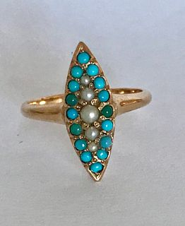 Victorian 14k Rose Gold Turquoise, Seed Pearl Ring