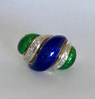 Modern 18k Gold Guilloche Enamel & Diamond Ring