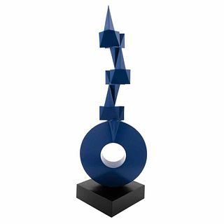 "SEBASTIAN, Llave, Signed and dated 1989, Iron sculpture 4 / 5 on steel base, 44.4 x 15.7 x 11.8"" (113 x 40 x 30 cm)"
