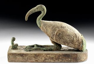 Egyptian Bronze / Gesso Wood  Ibis + Worshipper, XRF'd
