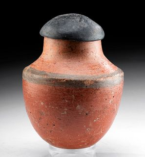 Egyptian Pre-Dynastic Redware Black-Top Lidded Jar