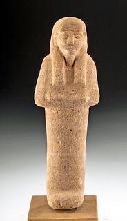 Egyptian New Kingdom Carved Sandstone Ushabti
