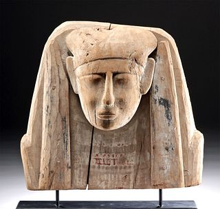Egyptian Painted Gesso Sarcophagus Head Panel