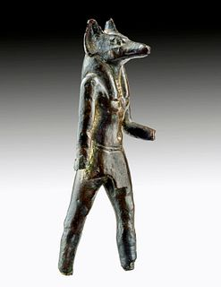 Fine Egyptian Bronze Striding Anubis, ex-Sotheby's