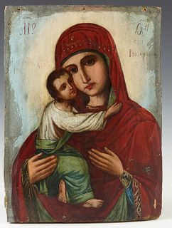 Russian Icon of the Virgin of Vladimir, 19th c., oil on curved wooden panel, H.- 11 3/4 in., W.- 8 1/2 in.