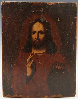 Russian Icon of Christ, 19th c., oil on curved wooden panel, H.- 8 3/4 in., W.- 7 in.