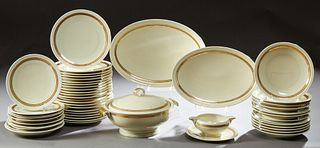 Fifty Piece Set of Gilt Leaf Banded French Limoges Dinnerware, early 20th c., by A. Lanternier & Co., consisting of 22 dinner plates...