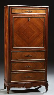 French Carved Mahogany Marble Top Secretary Abattant, early 20th c., the highly figured rounded edge and corner rouge marble over a...