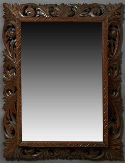 French Henri II Style Carved Oak Cushion Mirror, late 19th c