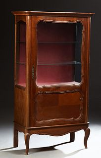 French Louis XV Style Carved Cherry Vitrine, 20th c