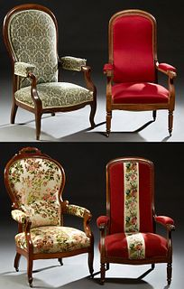 Group of Four French Louis Philippe High Back Fauteuils, late 19th c., two walnut with reeded legs, in russet upholstery, one cherry...
