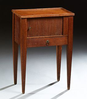 French Empire Style Tambour Nightstand, 20th c., the rectangular dished top above a tambour door over a single drawer, on square tap...