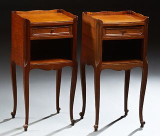 Pair of French Louis XV Style Mahogany Nightstands, late 19th c., with a three-quarter serpentine gallery above a single drawer and o..