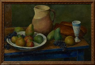 """Eugene Corneau (1894-1976), """"Still Life of a Table Top with Fruit and Bread,"""" 20th c., oil on canvas, unsigned, presented in a carve..."""