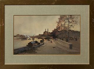 """Paul Renard (1941-1997), """"Paris River Scene,"""" 20th c., gouache, signed lower right, presented in a gilt frame with a wide linen line..."""