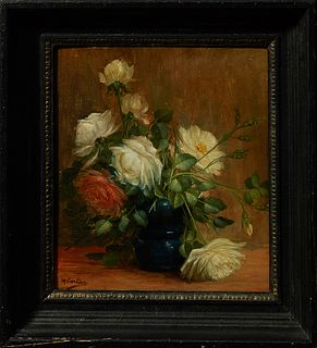 """Max Albert Carlier (1872-1938), """"Still Life of Roses in a Blue Vase,"""" oil on panel, early 20th c., presented in an ebonized frame wi..."""