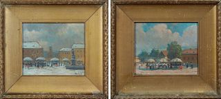 """Antal Berkes, """"Paris Street Scene,"""" 20th c., pair of oil on boards, signed lower right, presented in a wide gilt frame, H.- 5 in., W..."""