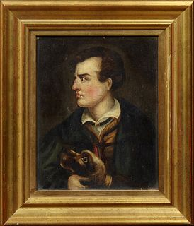 """Attr. to Richard Westall (1765-1836), """"Sketch of a Portrait of Byron,"""" 18th/19th c., oil on panel, presented in a gilt frame, with a..."""
