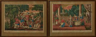 """Manner of Abraham Bosse (1602-1676), """"El. Oido and L'Ouie,"""" and """"El Gusto and """"Le Gout,"""" 17th c., pair of colored copper engravings,..."""