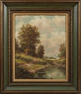 """H. Berger (possibly Hans Berger, 1882-1977), """"Lake Landscape with Hills Beyond,"""" 20th c., oil on canvas, signed lower right, present..."""