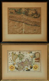 """Two Antique Maps: Arnoldus C. Montanus (1625-1683), """"Chili,"""" 1670, hand colored, presented in a black frame with a gilt liner, H.- 1..."""