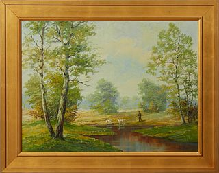 """Franz Mark (Hubert Kaplan, 1940-), """"Hunter and Dogs on Point in a Landscape,"""" oil on canvas, signed lower right, prsented in a wide..."""