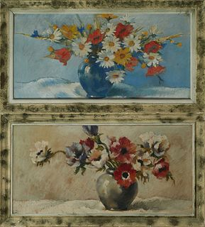 """Pierre Richard, """"Still Life of Flowers in a Blue Vase,"""" and """"Still Life of Flowers in a Green Vase,"""" pair of oil on canvas, both sig..."""