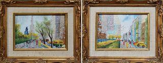 "Harry Winfield Rubins (1865-1934), ""City Street Scene,"" 20th c., enamel on copper, signed lower right; and N. Stone, ""Street Scene b..."