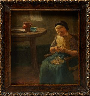 """Evert Pieters (1856-1932, Dutch), """"Kitchen Scene,"""" 19th c., oil on panel, signed lower left, presented in a gilt and gesso frame, H...."""